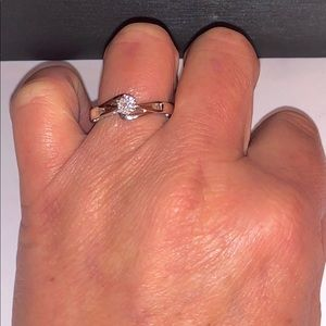 NWOT .22ctw Round & Baguette natural diamond ring